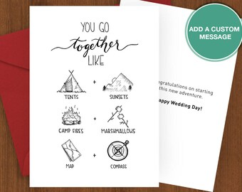 You Go Together - Hiking Card, camping, card print, camping, camp, love, partner, adventure, wedding, Sherpa Ant, anniversary, sport, hike