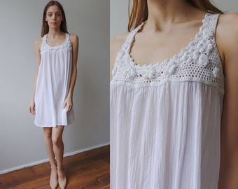 White Crochet Dress 90s | Vintage Sheer Mini Dress Cotton Beach Cover Up - Small