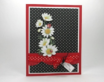 Happy mother's day cards, mother's day, daisies, ladybug, 3d cards, mother's day gifts, cards for wife, mom, grandmother, daughter