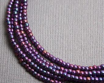 Purple Seed Bead Necklace, Metallic Purple Seed Bead Necklace, Purple Layering Necklaces, Long Purple Necklaces, Tiny Purple Necklaces