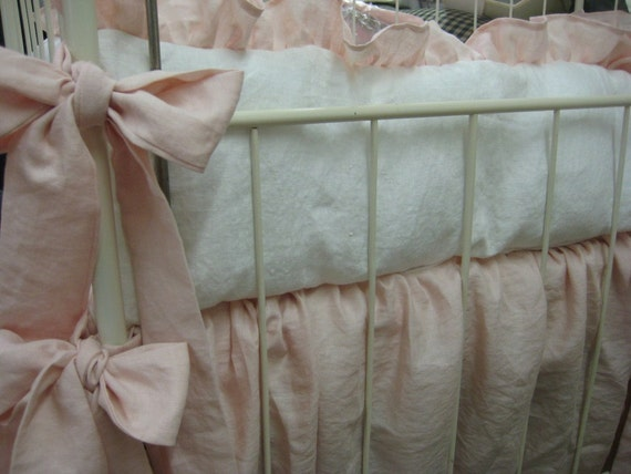 Washed Linen Nursery Bedding Soft Pink And Vintage White Baby