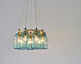 Lakehouse chandelier etsy mason jar chandelier lighting fixture 7 antique aqua blue quart jars rustic ring mason aloadofball Gallery