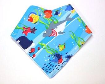 """Shark Print, baby Bib, bandana bib, baby boy bib, baby bandana, baby clothes, bandana baby, kids clothes, baby boys clothing - """"Jaws"""""""