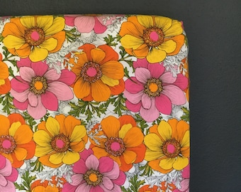 fitted crib sheet funky floral - orange, pink, yellow - Ready 2 Ship