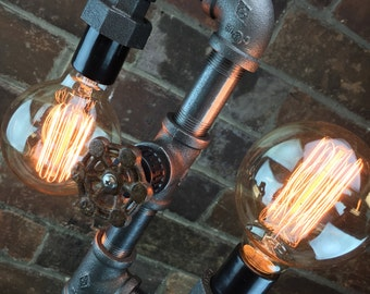 Multi Bulb Edison Floor Lamp - Industrial Style - Bare Bulb Light - Steampunk Lamps