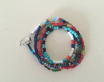 Multicolored , multisized seed bead wrap bracelet/colorful bracelet