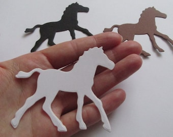 12 Large Horse Die Cuts in White, Black and Brown,  Horse Cut Out, Horse Party Theme Decoration, Large Black Paper Horse, White Horse