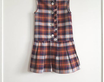 Vintage Plaid Girl's Drop Waist Dress