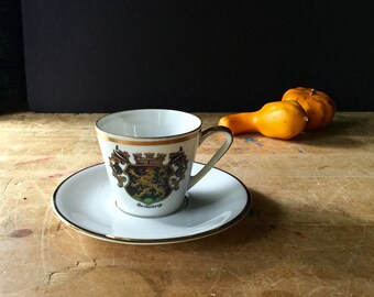Vintage Tea Cup and Saucer, PMR Jaeger & Co., Bavaria W. Germany, Coat of Arms, Seidelberg, Porcelain China Cup Saucer, Porcelain Teacup