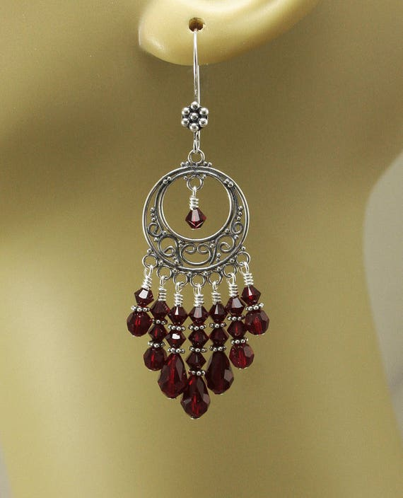Red Chandelier Earrings: Bold Red Chandelier Earrings Crystal And Sterling Silver