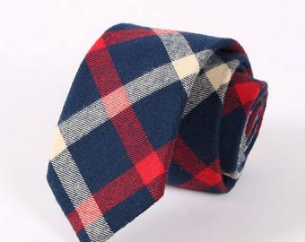 Red and Navy Blue Plaid Neck Tie