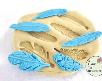 """Feather mold for cake pops and crafts. 1.5"""" to 2"""" for cupcakes. Silicone mold for polymer clay or resin jewelry. Craft supply molds M1017"""