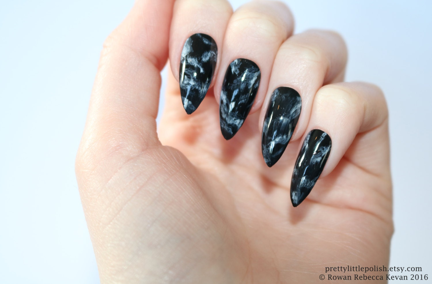 Stiletto nails Black marble stiletto nails Fake nails Press