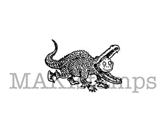 Small rubber stamp / Brownie in crocodile costume / Unmounted rubber stamp (150510)