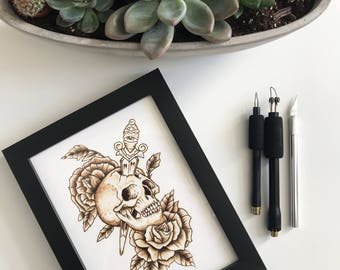 Skull pyrography art on paper / tattoo art / skull and flowers illustration / ooak artwork / paper pyrography / unique art / InkedArtista