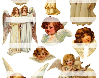 And Angels Sing, vintage collage sheet (printable, digital download)
