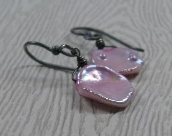 Pink Keshi Pearl Earrings Minimalist Oxidized Sterling Silver Petal Pearl Earrings