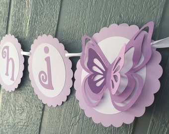 Butterfly Birthday Banner - Personalized with Name & Age - Shades of Lavender, White