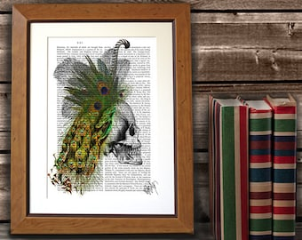 Human Skull print with Feather Headress -  gothic decor skull decor skull art print anatomy art anatomy print dorm decor horror gift
