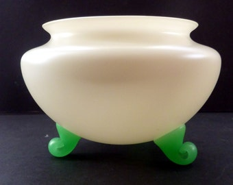 Attractive Little ART DECO White Satin Glass Bowl with Three Peppermint Green Curled Feet, possibly Kralik