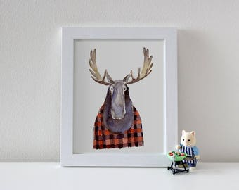Moose art print / Canadiana / Watercolor animal painting / Nursery decor