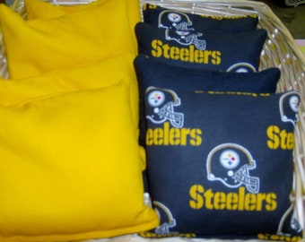 8 PC set of Corn hole Bags 4 Pittsburg Steelers Cotton Print and 4Harvest Gold Duck Cloth bags.