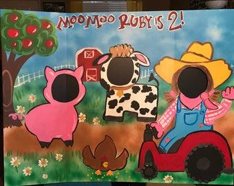 Farm Party- Farm Birthday- Farmer Party- cowboy Party- Barn Photo Prop- Farm Animal- Face in The Hole- Birthday Decor- Barnyard Party-