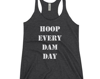 Hula Hoop Clothing Women's Racerback Tank Black : Hoop Every Dam Day