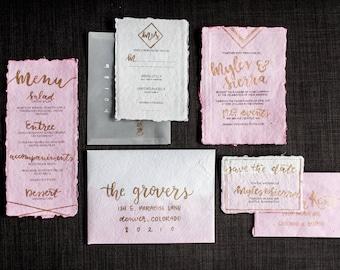 Blush Hand Lettered Wedding Invitation Suite | Custom Invitation | Geometric Wedding Invitation Suite | Modern Romantic Wedding Invitations