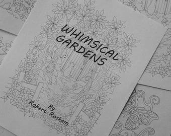 Whimsical Gardens, the digital download, printable adult coloring book
