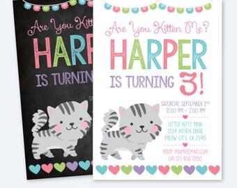 Kitty cat invitation, Cat Invitation, Kitty cat birthday party, Kitten birthday Invitation, Pawty Invitation, Digital, 2 Options