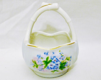 Forget-Me-Not- The Alaskan State Flower Hand Painted Porcelain Basket-Made in Japan