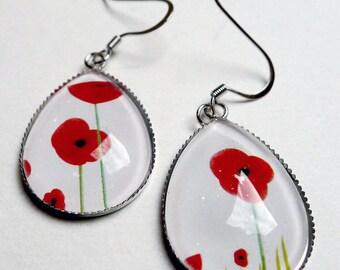 Earrings drops, red poppies BO019