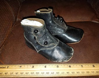 Antique Leather Pair of Doll/Girls Shoes