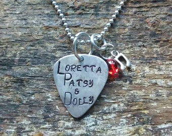 Loretta Patsy & Dolly hand stamped pendant. Your choice of either Necklace or Keychain