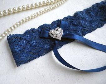 Navy Blue lace wedding bridal garter any size