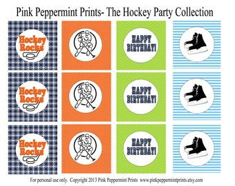 NEW INSTANT DOWNLOAD The Hockey Collection Printable 2 inch Party Circles Cupcake Toppers Birthday Party Edition