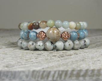 Larimar, Lotus Jasper, Amazonite and Howlite Triple Stack Bracelets