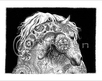 Zen Horse- print of original pen & ink