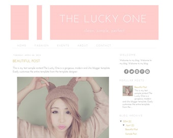 Premade Blogger Template - Instant Download - Blog Theme - The Lucky One Blogger Template Design