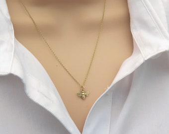 Solid Gold Bumble Bee Necklace, Tiny Bee Charm Necklace For Women, Solid Gold Jewellery For Her, Simple Necklaces For Everyday Wear