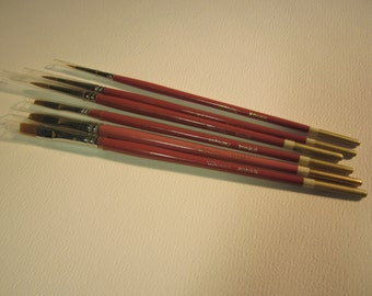6 Robert Simmons ToleMaster artist paint brushes, round ( sizes 1,3,4 ) shader ( sizes 2,6,8 ), made in USA