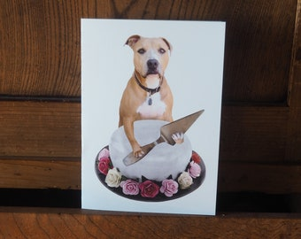 Printable Dog Birthday Card, Pit Bull with Rose Cake Digital Birthday Card