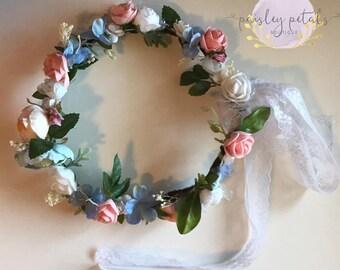 WDW Maddie, Peach halo, peach and blue halo, blue halo, toddler halo, peach flower crown