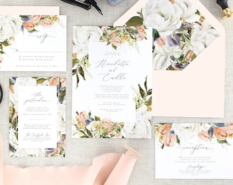 Vintage Wedding Invitation Set - Romantic Wedding Invites - Floral Wedding Invitation Suite - Blush Wedding - Fall Wedding - Set of 10
