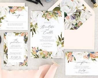 Floral Wedding Invitation Set, Rustic Wedding Invites, Romantic Wedding Invitation Suite, Blush Wedding, Modern, Fall, Spring, Set of 10