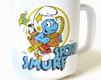 SPORTY SMURF Collectors PEYO Vintage Coffee Mug