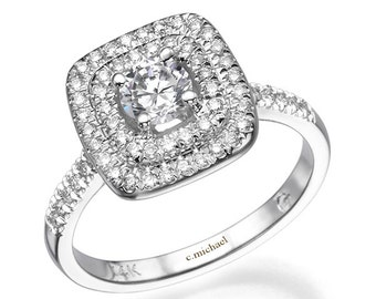Square Engagement Ring, Diamond Ring, White Gold Ring, 14k Ring, Engagement Band, Band Ring, Prong Ring, Wedding Ring, Bridal Jewelry