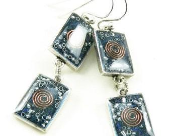 Orgone Energy Earrings - Lapis Lazuli Gemstone Dangle Earrings - Geometric Rectangle Earrings - Positive Energy Generator - Artisan Jewelry