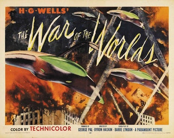 H.G. Wells The war of the worlds 1953 cult sci fi movie poster reprint 12.5 x19 inches #2
